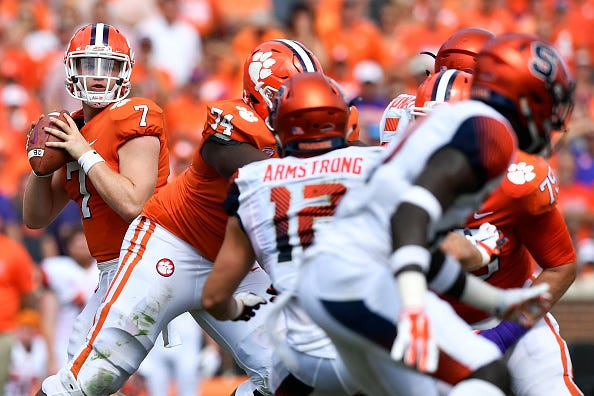 Chase Brice drops back for a pass for Clemson.
