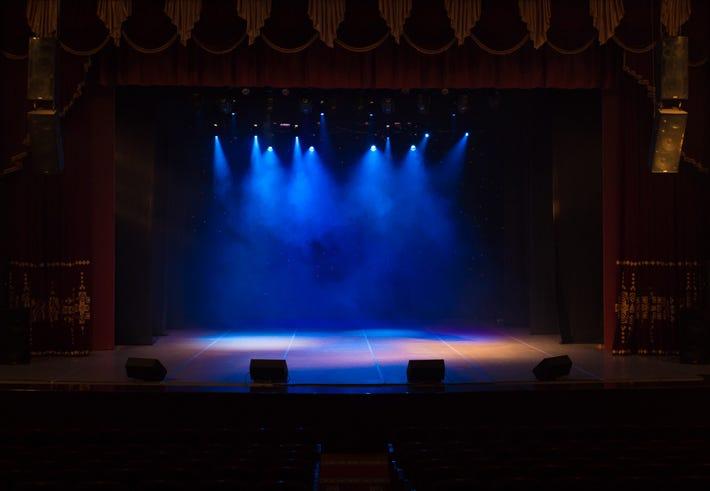 An empty Broadway stage.