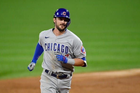 Kris Bryant jogs the bases after homering for the Cubs.