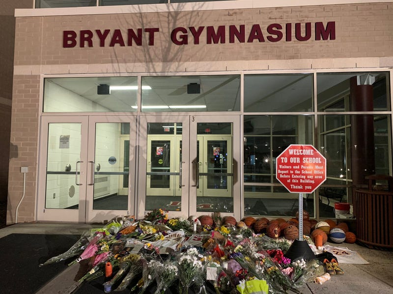 The memorial outside the Kobe Bryant Gymnasium at Lower Merion High School.