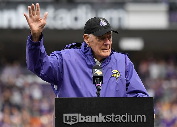 Bud Grant at a Vikings game in 2019.