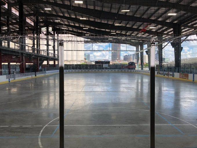 Hockey rink at Buffalo Riverworks. July 31, 2020 (WBEN Photo/Mike Baggerman)