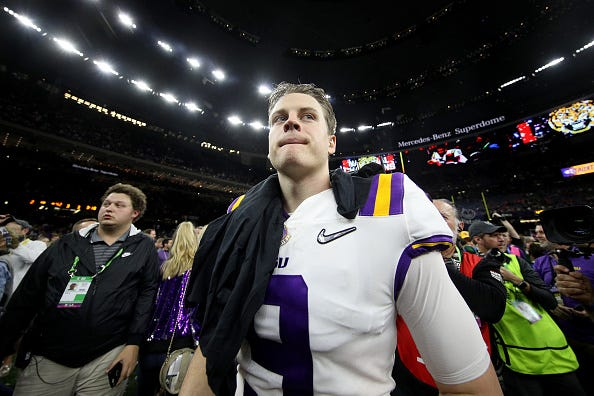 Joe Burrow heads to the locker room after winning the national championship.