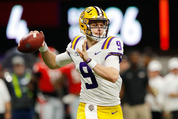 LSU QB Joe Burrow looks for an open receiver in the SEC Championship Game.