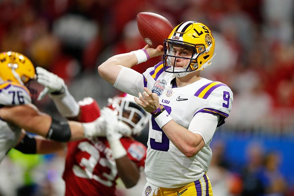 Joe Burrow throws a pass against Oklahoma in the Peach Bowl.