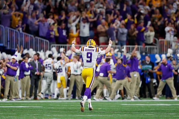 Joe Burrow celebrates one of his seven TD passes in the Peach Bowl.