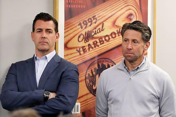 Mets GM Brodie Van Wagenen stands alongside team owner Jeff Wilpon.