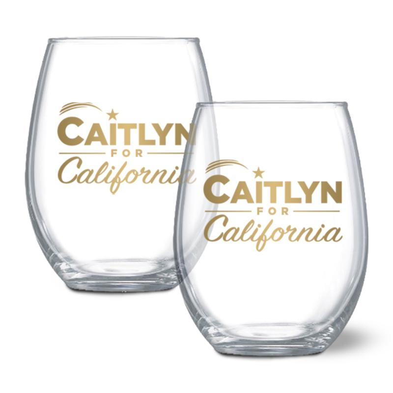 Caitlyn for California wine glasses (set of 2), $35