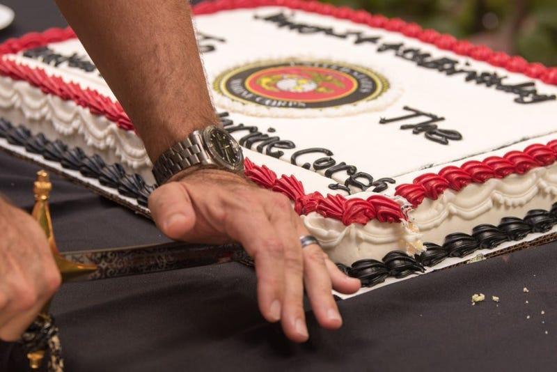 Marine Corps birthday cake cutting ceremony on Joint Base Pearl Harbor-Hickam, Hawaii, Nov. 7, 2019.