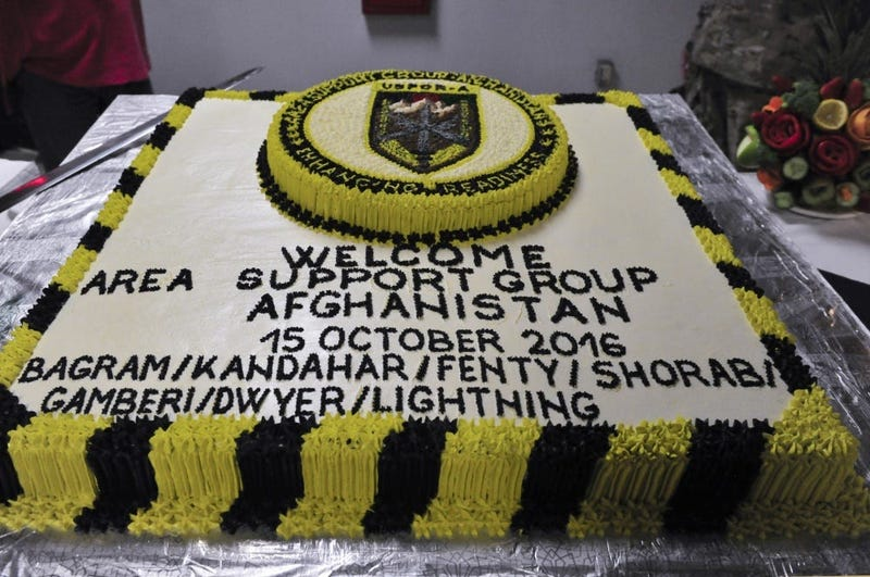 The Area Support Group - Afghanistan ceremony cake used to celebrate the establishment of the new group.