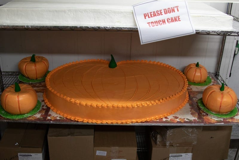 One the menu for the Zone 6 Dining Facility at Camp Arifjan this year: roasted turkey, shrimp cocktail, green beans and ribeye roasts. There are also pies - pumpkin, sweet potato, pecan and apple - and cakes such as this pumpkin-shaped one.