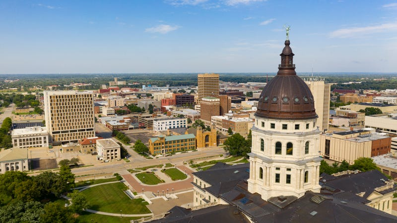 Aerial view at the state capital building in Topeka, Kansas