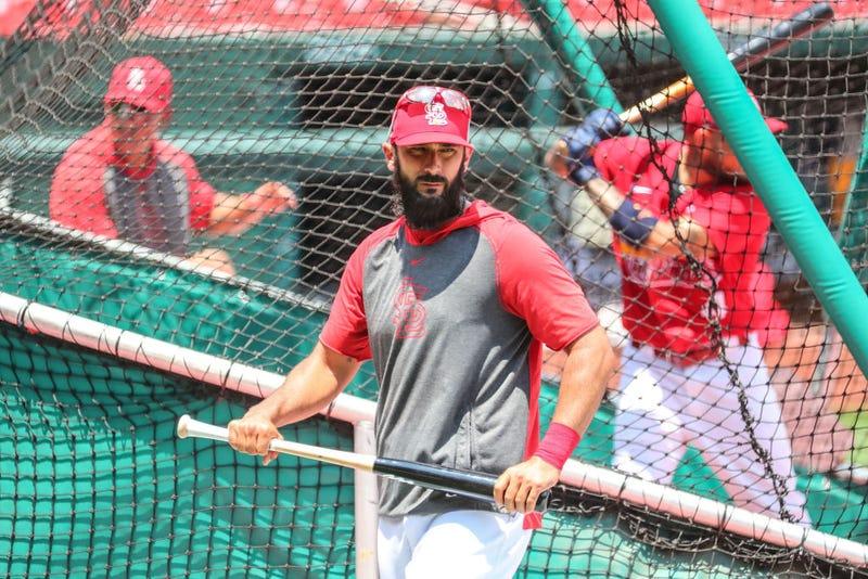 Matt Carpenter leaves the cage during Cardinals batting practice.