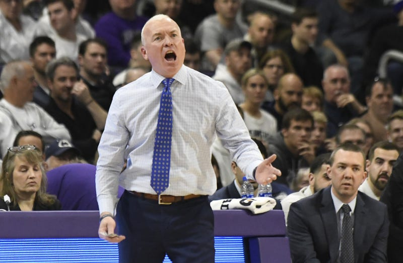 Penn State Nittany Lions head coach Pat Chambers gestures to his team during the first half at Welsh-Ryan Arena.