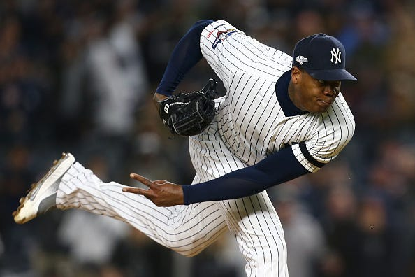 Aroldis Chapman pitches against the Astros in the ALCS.