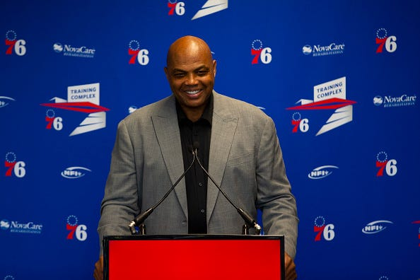 Charles Barkley is honored by the 76ers with a statue.