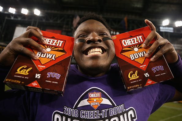 Artyvious Lynn celebrates the 2018 Cheez-It Bowl victory.