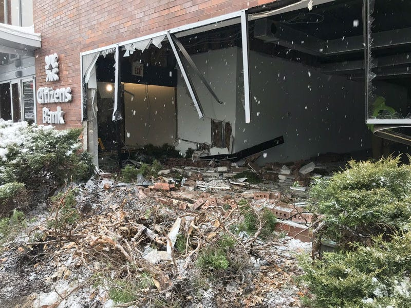 Plow truck slammed into building at Old York and Meetinghouse Roads in Cheltenham.