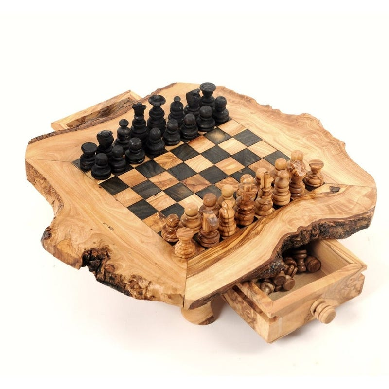 Handmade Large Olive Wood Chess Board