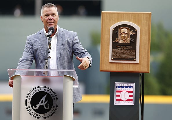 Chipper Jones delivers a speech to Braves fans.