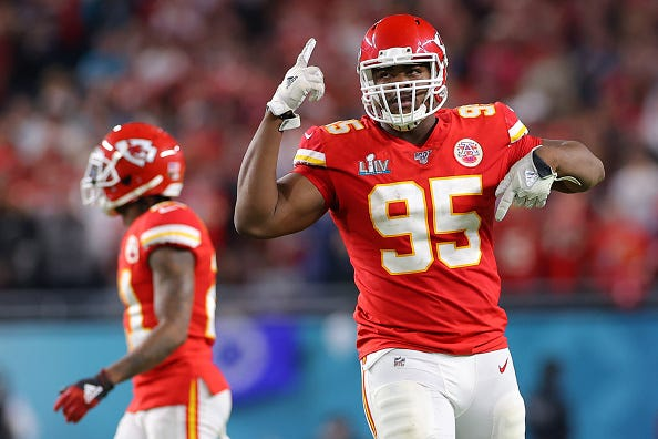Chiefs' Chris Jones celebrates a play in the Super Bowl.