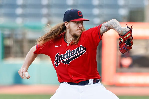 Mike Clevinger pitches for the Indians.
