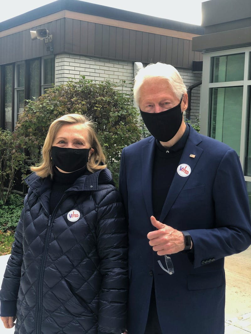 Hillary and Bill Clinton on Election Day, Nov. 3, 2020