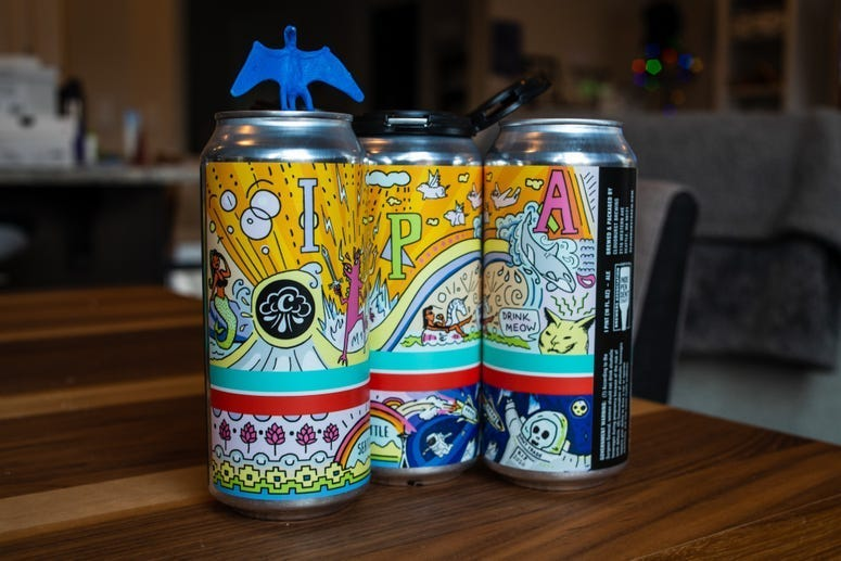 Cans of Cloudburst Brewing beers.