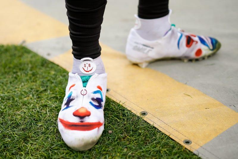 Odell Beckham Jr. wears Joker cleats in a game against Denver.