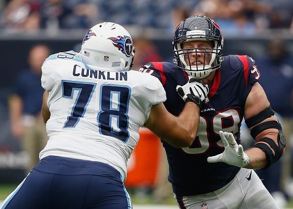Jack Conklin blocks Texans' J.J. Watt.
