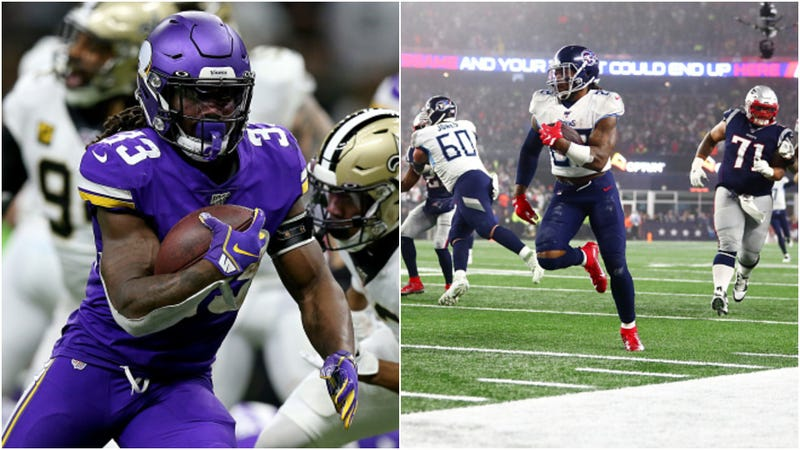Dalvin Cook (l.) and Derrick Henry (r.) rush during Wild Card Weekend.