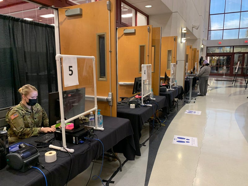 national Guard in place for coronavirus testing at UNLV's Stan Fulton Building on 11-230-20