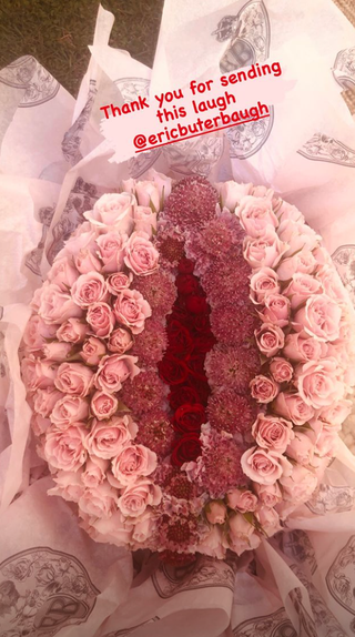 Emma Roberts baby shower floral bouquet