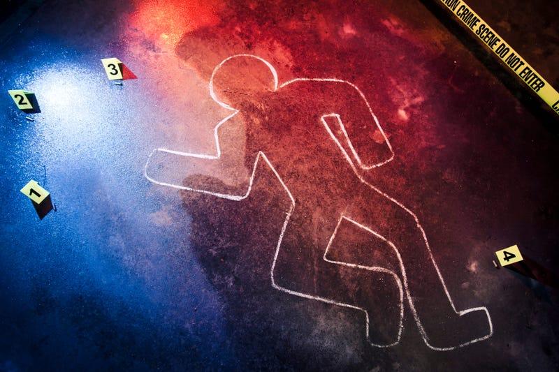 Chalk outline at a crime scene