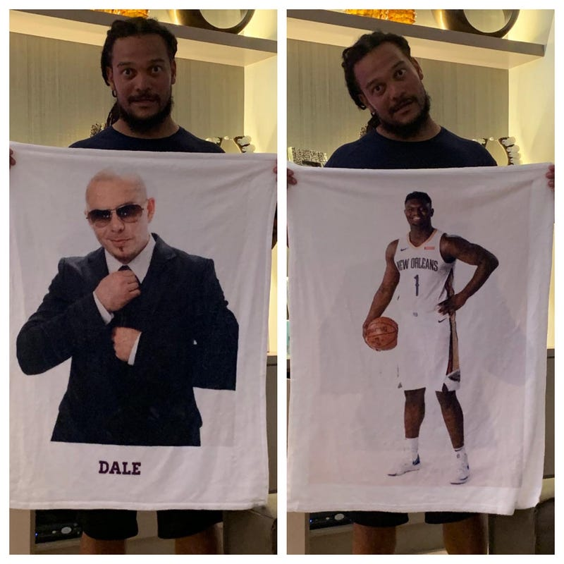 Crowder with pitbull and Zion blanket
