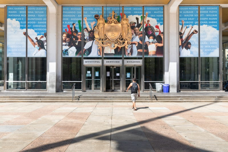 """The mural, designed by Russell Craig and titled """"Crown,"""" pays tribute to the Black Lives Matter movement."""
