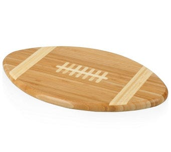 Football shaped cutting board and serving tray.