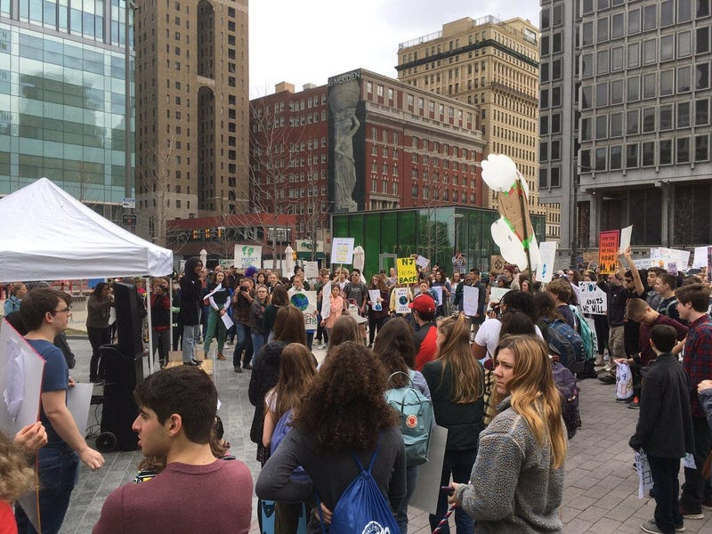Philadelphia students participated in the youth climate strike at LOVE Park.