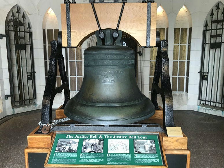 """100 years ago, Pennsylvania became the seventh state to vote in favor of the 19th Amendment, which gave women the right to vote. A celebration in Valley Forge included the ringing of what's known as the """"Women's Liberty Bell."""""""