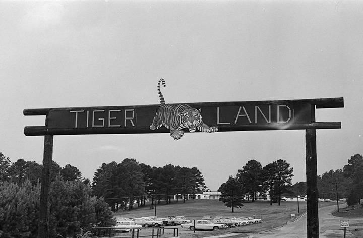 """Tiger Land"" sign at the U.S. Army training facility at Fort McClellan near Anniston, Alabama."