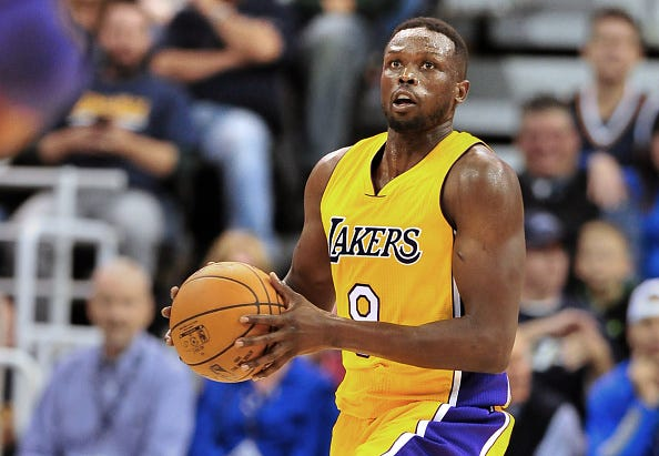 Luol Deng eyes the basket during a game with the Lakers.