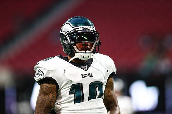 DeSean Jackson prepares for a game against the Falcons.