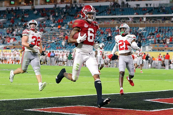 Devonta Smith finds the end zone for Alabama in the national championship game