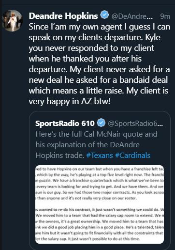 DeAndre Hopkins tweet