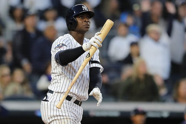 Didi Gregorius watches as he belts a grand slam in the ALDS.