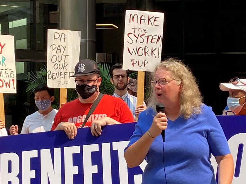 Community Legal Services attorney Sharon Dietrich, who represents the Philadelphia Unemployment Project, outside U.S. Labor Department offices in Philadelphia Tuesday, protesting the state's halting of unemployment benefits to at least 275 people without notice.