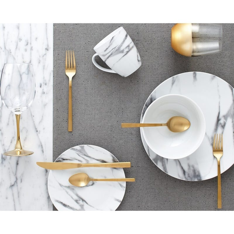 Porcelain Marble Dinnerware 16Pcs Set