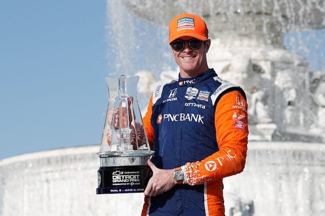 PNC Bank Chip Ganassi Racing's Scott Dixon Poses With The Trophy After Winning Race Two Of The Detroit Grand Prix