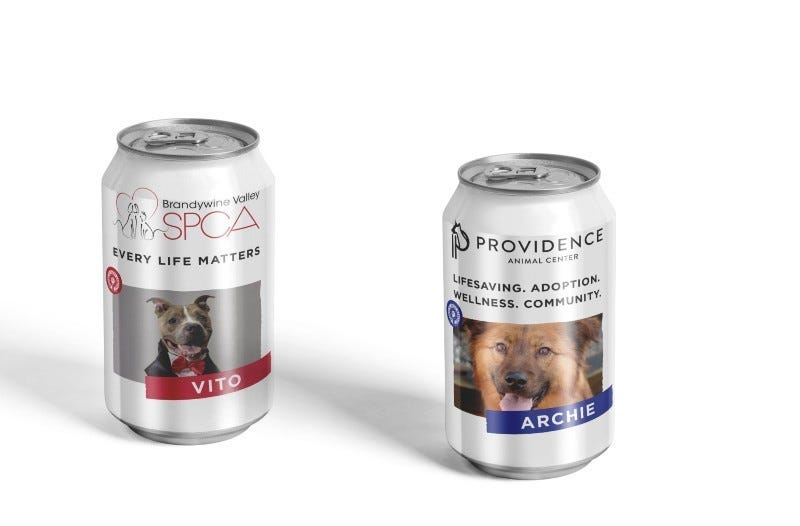 """Allentown's Colony Meadery has teamed up with the Providence Animal Center and Brandywine Valley SPCA to produce """"Rescue Mead,"""" with photos of dogs available for adoption on the cans."""