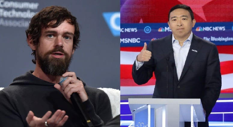 Jack Dorsey and Andrew Yang